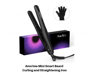 AmoVee Mini Smart Beard Curling and Straightening Iron